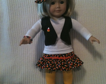 18 inch doll (modeled by American Girl) Halloween skirt set with hair bow