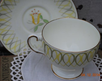 Shabby Yellow Flower English Bone China Cup and Saucer