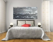 SALE 24x48 Stormy Sea Mountains Black Greys Silvers Textured Original Art by MyImaginationIsYours