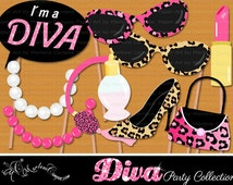 Diva Photo Booth Props, Birthday photo booth props, Diva, Fashion Girls, Printable photo booth props, Birthday photo booth -INSTANT DOWNLOAD