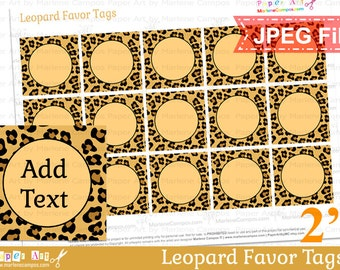 Leopard Favor Tags, Printable favor tags, Editable text, JPEG file, Animal Print party supplies - INSTANT DOWNLOAD