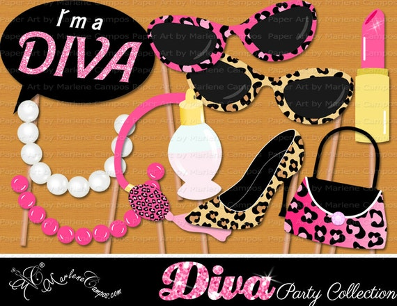 Diva Photo Booth Props Birthday Photo Booth Props Diva