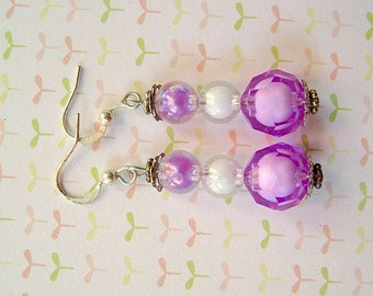 White Purple Bead Earrings, Purple Bead Earrings, Purple White Earrings