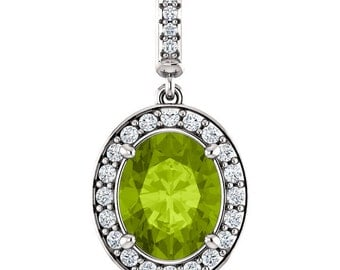 "Natural  10x8mm Oval  Green Peridot Solid 14K White Gold Diamond pendant with 18"" Cable chain- ST97183"