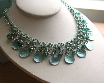 Seafoam and Shell Chainmaille Necklace