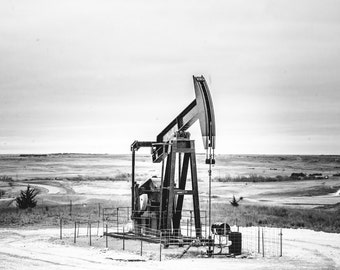 Oil Field Black and White Metal Gallery Print