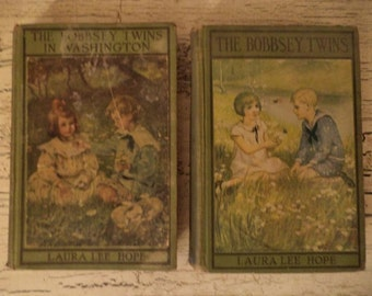 2 VIntage Bobbsey Twins Books - Green Books - Nursery Decor