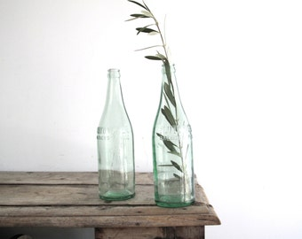 Vintage Tall Glass Bottles - Blue Glass Pluto Water Antique Bottles