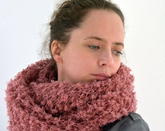 Boucle hand knit loop cowl scarf in light rose pink