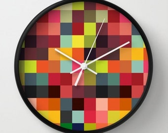 Squares Wall Clock - Multicolor Squares Retro Wall Clock - Original Design - Home decor by Adidit