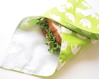 Sandwich Wrap with Food-Safe Nylon Lining - Green Elephant