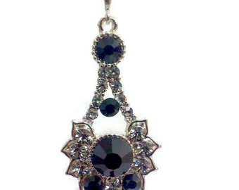 Black Art Deco Bridal Necklace, Geometric Pendant, Gothic Bridal Jewelry, Bridesmaid Jewelry, RAYS