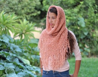 Peach Knit Hooded Cowl, Light Orange Knitted Neck Warmer,  hooded neck warmer