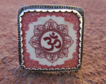 Om Ring Sterling Silver and Shrinky Dink Shrink Plastic Horse Equestrian Jewelry
