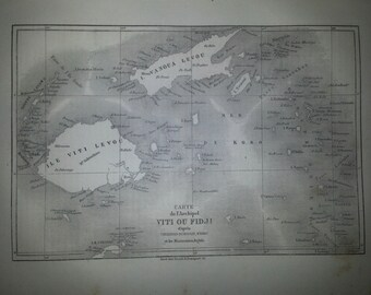 Antique French Map of Fidji islands 1860