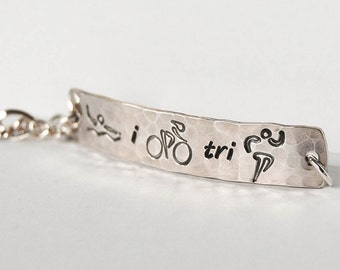 Triathlon bracelet, sterling silver triathlon bracelet, athlete gift, triathlon jewelry, swim bike run bracelet, swim bike run jewelry