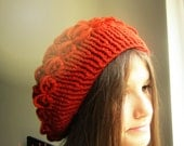 Puff Orange Beret. Winter Woman Hat. Handmade Women Accessory. Crochet Orange Teracotta Hat. Nerino Wool Beret. Gift for Her by dodofit