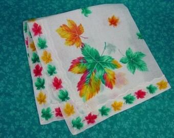 Lovely Vintage Hanky, Handkerchief Bright Leaves on White, Label, Unused