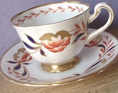 Antique 1940's Royal Chelsea hand painted tea cup set, red white blue gold tea set, English tea cup and saucer, bone china tea cup