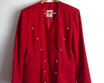 90s vintage double-breasted red blazer