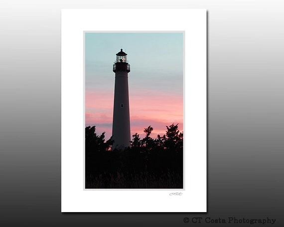 Sunset Lighthouse, Cape May Point Lighthouse Signed Matted Print, Ready for a 5x7 inch frame