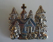 Vintage MJ Christmas Church Brooch/Pendant Silver Tone Gold Tone Accents