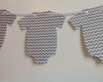 Grey chevron Onesie banner - Birthday Party Baby shower Gender Reveal Gender Neutral Custom colors