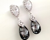 Black Crystal Earrings - Sparkling Silver Night Swarovski Teardrop Cubic Zirconia Bridal Earrings Bridesmaids Gift Under 30