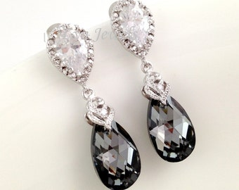 Black Crystal Earrings - Sparkling Silver Night Swarovski Teardrop Cubic Zirconia Bridal Earrings Bridesmaids Gift Under 30