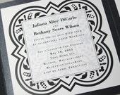 Elegant Wedding Invitation Black White Quatrefoil Design Pocketfold Invite Traditional Wedding Pocket Custom Wedding Invitation