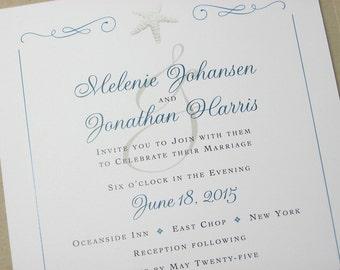 Beach Wedding Invitation Starfish Teal Blue Pocketfold Invite Wedding Pocket Raffia Wrap Custom Wedding Invitation Taupe Recycled Pocket