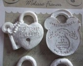 Shabby Chic White Resin Locked Up Hearts Set of 4 Applique Vintage Style Embellishments by Melissa Frances (328893)