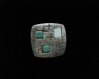 Silver, square pendant with white and aqua beads and distressed metal texture