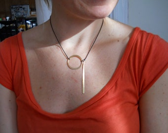 Brass Circle and Stick Necklace