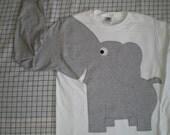 Elephant shirt. elephant trunk sleeve, elephant t shirt, WHITE, adult UNISEX small