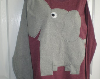 Long sleeve elephant tee shirt, burgundy heather, adult size extra large, XL, elephant trunk sleeve