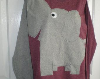 Elephant tee shirt, burgundy heather, long sleeve, adult size 2XL, 2 extra large, elephant trunk sleeve