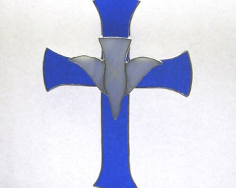 Stained Glass Cross with Descending Dove in Majestic Blue