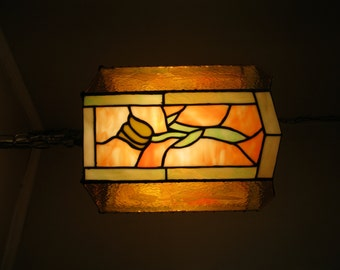 Lamp -Stained Glass Tulip Swag Lamp- OOAK