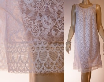 Delightful romantic double layer palest lilac nylon and floral patterned white lace overlay 1960's vintage mid length nightgown - 2721