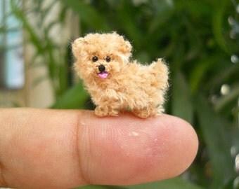 Mini Fawn Maltese Amigurumi - Tiny Crochet Miniature Dog Stuffed Animals - Made To Order