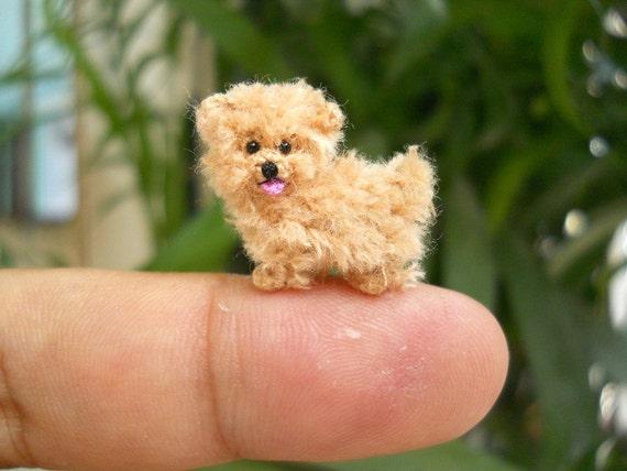 Mini Fawn Maltese Amigurumi Tiny Crochet Miniature Dog