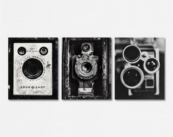 Industrial Decor, Vintage Camera Print or Canvas Wrap Set, Rustic Home Decor, Photographer Art, Vintage Camera Art, Rustic Camera Art.