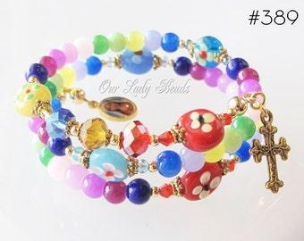 Rosary Bracelet,Colorful Glass Rosary Wrap Bracelet,Girl's Rosary Bracelet,Religious Catholic Jewelry,Catholic Bracelet,Our Lady Beads,#389