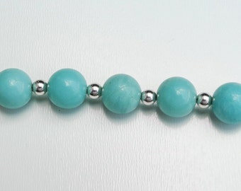Amazonite & Sterling Silver Dog Lover's Key Chain