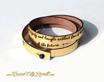 Personalized Leather Wrap Bracelet, Gold Metallic Leather, Custom Script Text, Adjustable