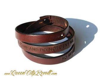 Personalized Brown Leather Wrap Bracelet, Custom Text, Adjustable, Block Font