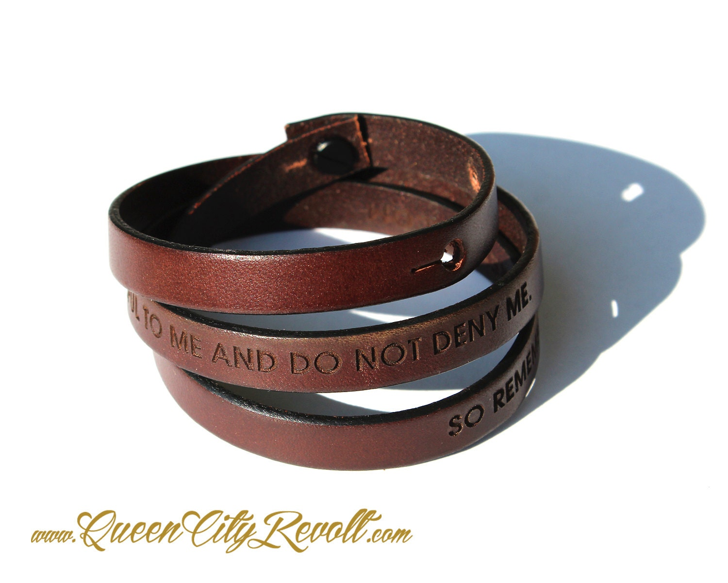 personalized brown leather wrap bracelet custom text