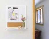 OKEEFFE: modern wall mounted wood home office kitchen organization message center whiteboard cork board shelf white organizer minimal urban