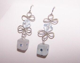 Blue Swarovski Earrings Wire Dangling light blue earrings